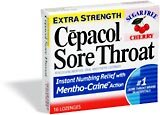 Cepacol Sore Throat Lozenges Extra Strength Sugar Free Cherry (16)